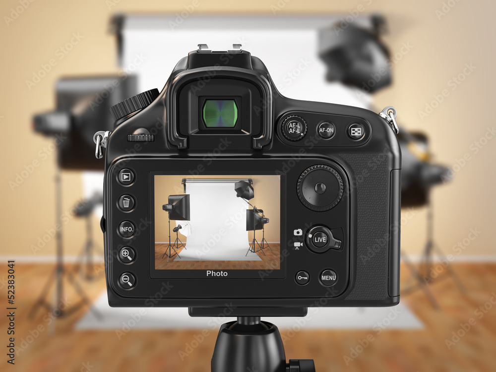 Fototapety, obrazy: Digital photo camera in studio with softbox and flashes.