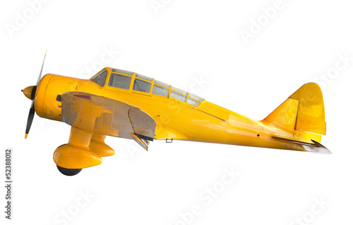 Photo old classic yellow plane isolated white