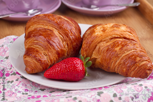 Photo Stands Coffee beans Croissants with strawberry