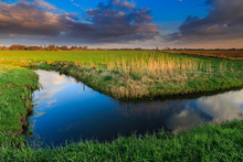 Grassland And Ditch At Sunset