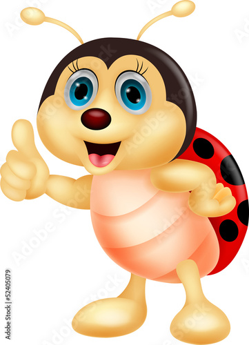 Foto op Aluminium Lieveheersbeestjes Cute ladybug cartoon thumb up
