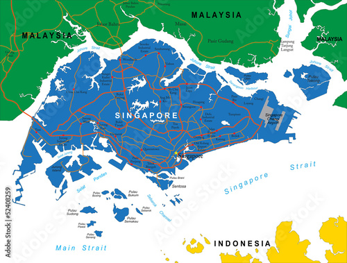 Naklejka premium Singapore map