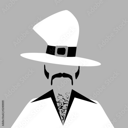 man with hairy chest wearing funky top hat Canvas-taulu