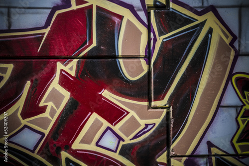 Red and golden words art, colorful graffiti, abstract grunge gra © Fernando Cortés
