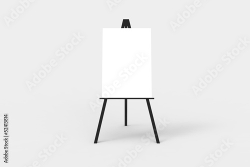 Fotografie, Tablou A black easel with a blank white canvas on it.