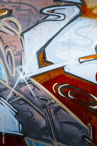 Fotobehang Cubaanse oldtimers Colorful graffiti, abstract grunge grafiti background over textu