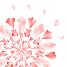 Red Jewel Flower Or Snowflake On White Card Background, Vector