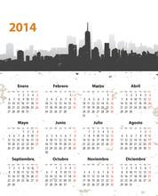 Spanish 2014 Year Stylish Calendar On Cityscape Grunge Backgroun