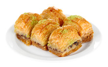 Sweet Baklava On Plate Isolated On White