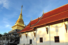 Golden Pagoda And Blue Sky, Wat Phra Thad Chang Kham, Nan Thaila