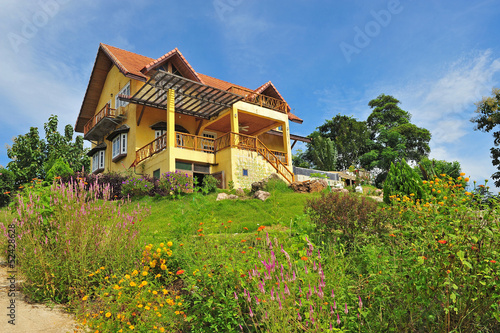 Yellow classic house on hill, pai, maehongson, thailand Poster