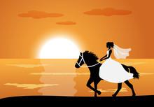 Bride Rides A Horse