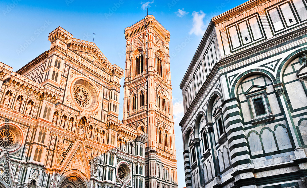Fotografie, Obraz Florence Cathedral with Baptistery in Florence, Tuscany, Italy