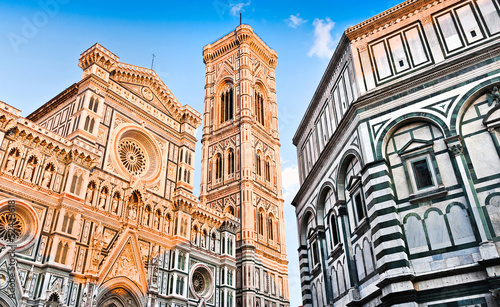 Photo sur Toile Florence Florence Cathedral with Baptistery in Florence, Tuscany, Italy