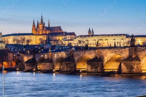 Poster Prague Charles Bridge and Castle in Prague at Dusk