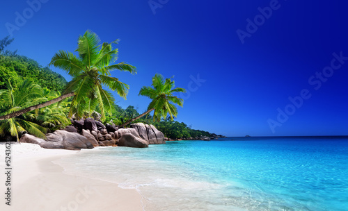 Foto-Schiebegardine Komplettsystem - beach at Praslin island, Seychelles