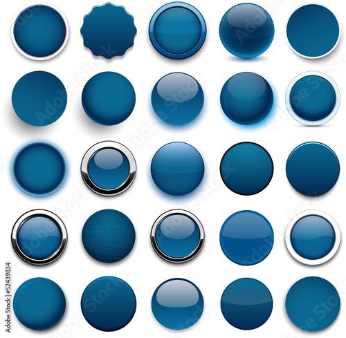 Poster  Runde dunkelblaue Symbole.
