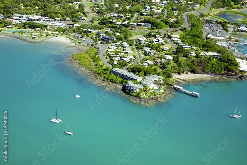 Aerial of seaside town in Whitsundays Wallpaper Mural