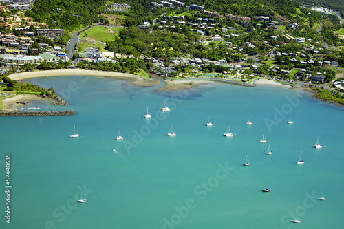 Aerial of seaside town in Whitsundays Wallpaper Mural