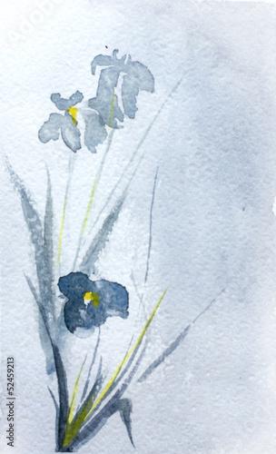 Naklejka dekoracyjna asian three flower watercolor