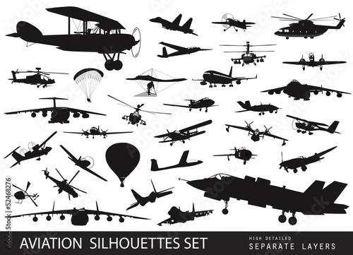 Vintage and modern aircraft silhouettes collection. Vector EPS8 Canvas Print
