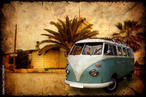 Photo  Retroplakat - Bulli vor Palmen