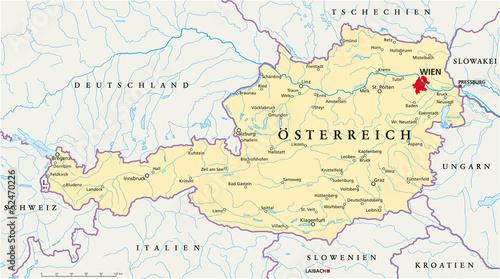 Österreich Landkarte ( deutsch ) Tablou Canvas
