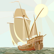 Illustration Of Sailing Ships Of The 17th Century.