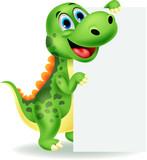 Fototapeta Dinusie - Cute dinosaur with blank sign