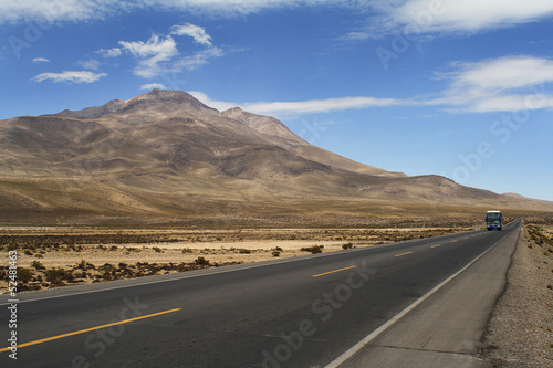 Photo Stands Eggplant Landscape and road in altiplano, Peru
