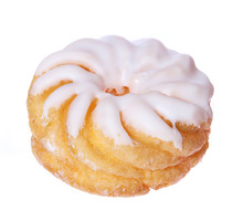 Donut Isolated On White, Glazed French Crullers Twisted Doughnut