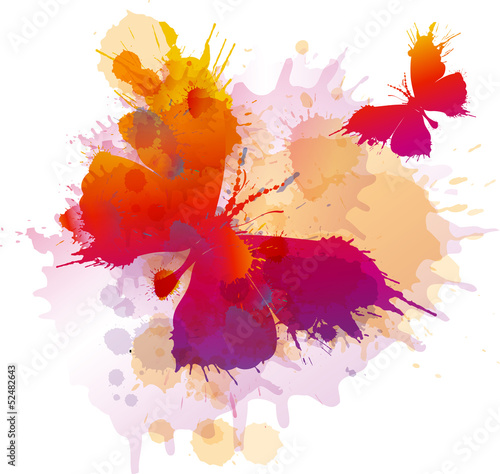 Poster Butterflies in Grunge Colorful splashes butterflies on white background