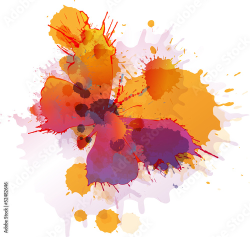 Foto op Aluminium Vlinders in Grunge Colorful splashes butterfly on white background