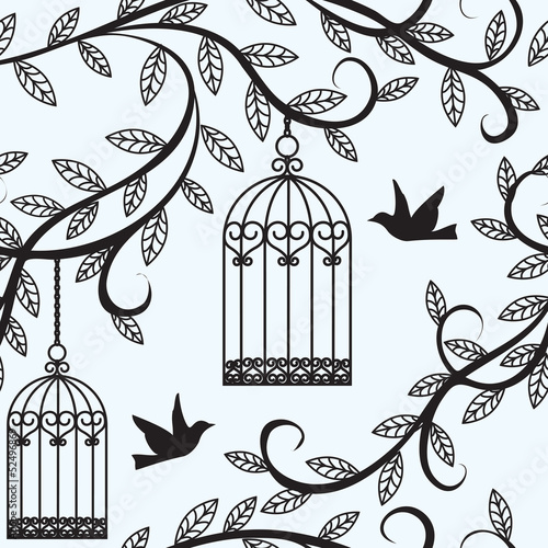 Acrylic Prints Birds in cages birds flying and cage