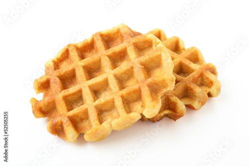 Fotografía  dessert waffles su sfondo bianco