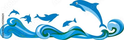 Poster Dolfijnen Прыгающие над волнами дельфины в море