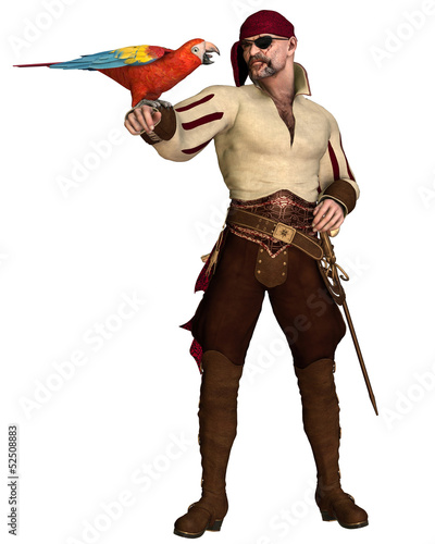 Old Pirate with Parrot Canvas Print