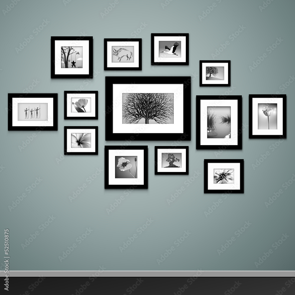 Fototapety, obrazy: Picture frame vector. Vintage photo frames on wall