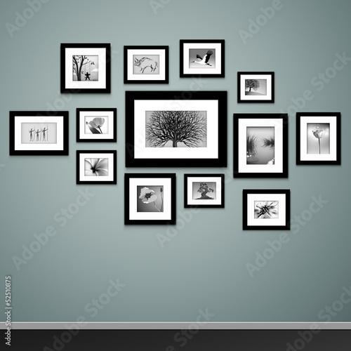 Fototapeta Picture frame vector. Vintage photo frames on wall obraz
