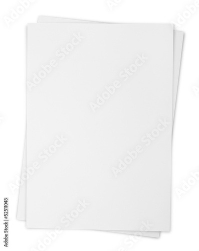 Valokuva  Two paper sheets isolated on white with clipping path
