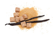 Vanilla Beans And Brown Vanilla Sugar Isolated On White Backgrou