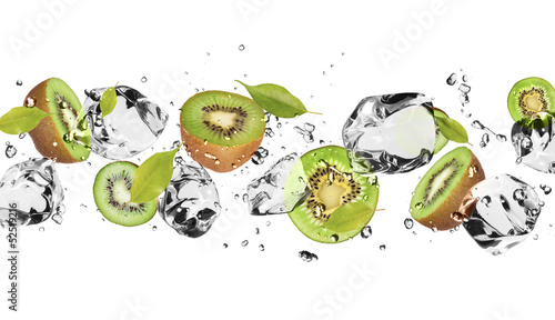 Deurstickers In het ijs Ice fruit on white background