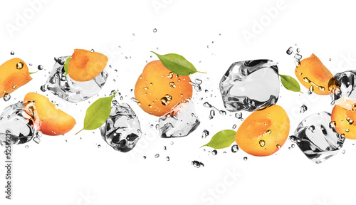 Poster Dans la glace Ice fruit on white background