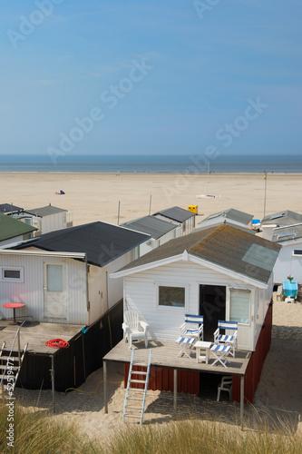 Obraz na plátne Beach huts in Holland