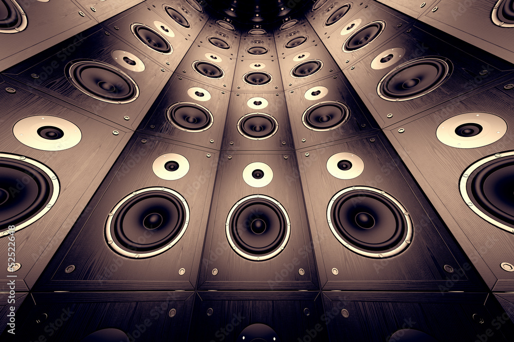 Fototapeta Wall of speakers.