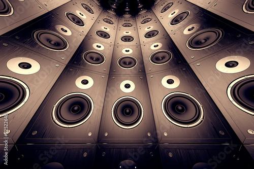 Fototapety, obrazy: Wall of speakers.