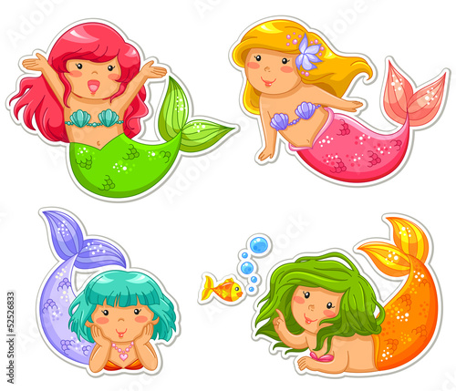 Deurstickers Zeemeermin little mermaids