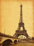 Eiffel tower view from Seine river.  Photo in retro style. - 52528021