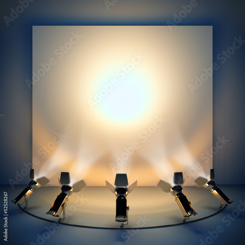 Poster Licht, schaduw Empty background with stage spotlight.