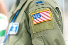 Focus On American Flag On USAF...